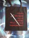 "Handlenett / veske med teksten: ""I make swords out of plastic, what is your superpower?"" thumbnail"